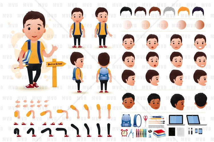 Little Boy Student Character Creation Kit Template