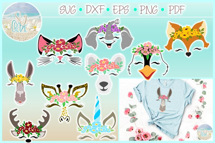 Animal Faces with Flowers Bundle SVG Dxf Eps Png PDF files