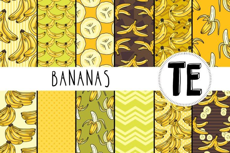 12 Banana Seamless Patterns - Summer, Tropical Fruit. example image 1