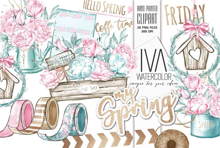 Spring Clipart, Floral Clipart example image 1