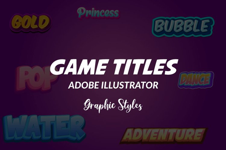 Arcade Games Title Graphic Styles for Adobe Illustrator