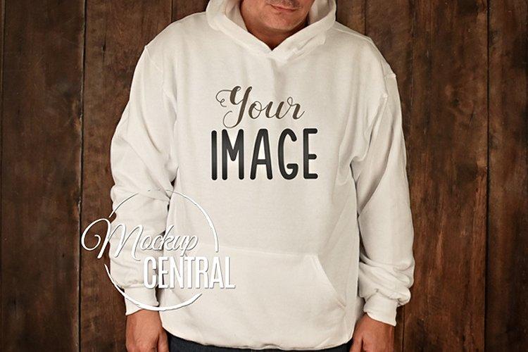 Men's White Hoodie Sweatshirt Mockup, Grey Shirt Mock Up example image 1