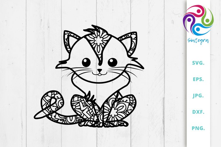 Zen Tangle Cat Svg File example image 1