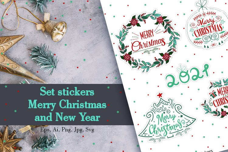 Set stickers Merry Christmas and New Year example image 1