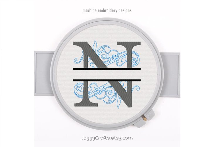 Embroidery Fonts Split Monogram N, Monogram Fonts Design example image 1