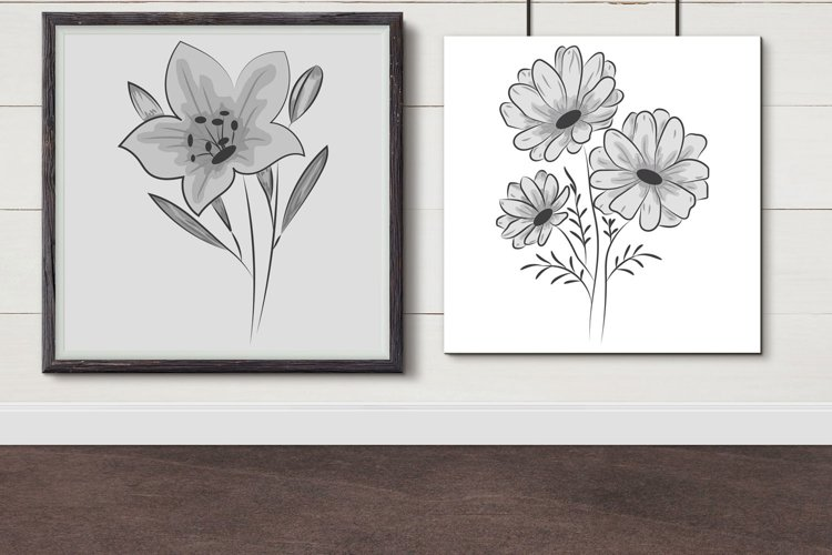 Flower drawing with line-art example image 1