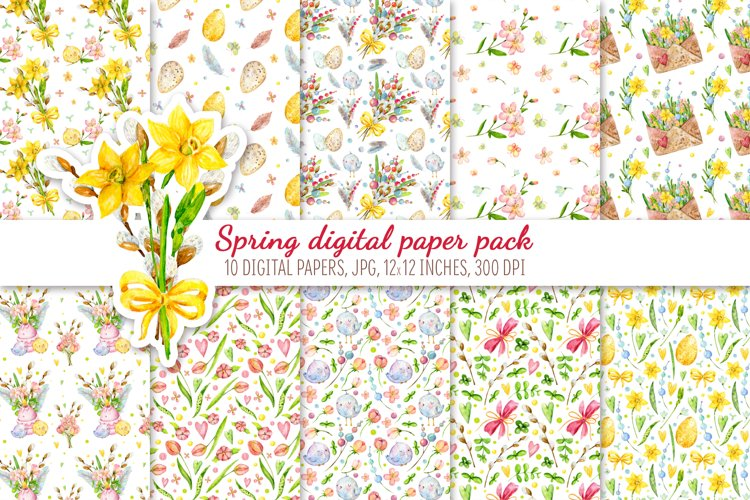 Digital Scrapbook Paper Pack. Hello spring example image 1