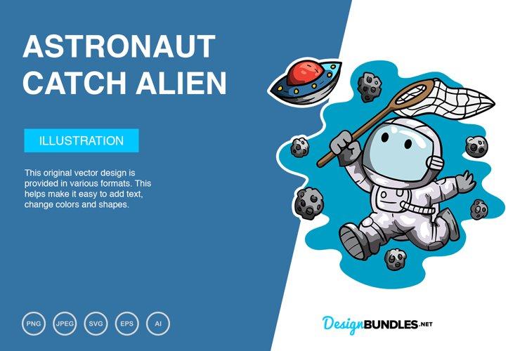 Astronaut Catch Alien Vector Illustration