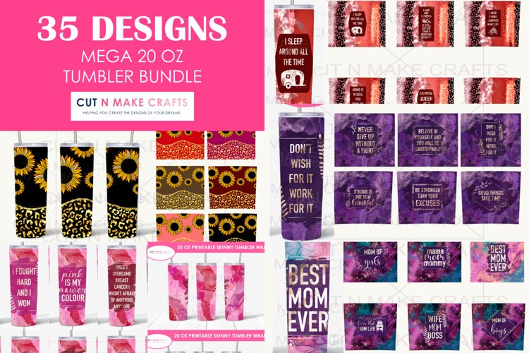 35 Designs MEGA 20 Oz. Skinny Tumbler Sublimation Bundle