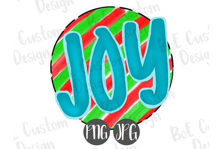Joy Striped Christmas Clipart