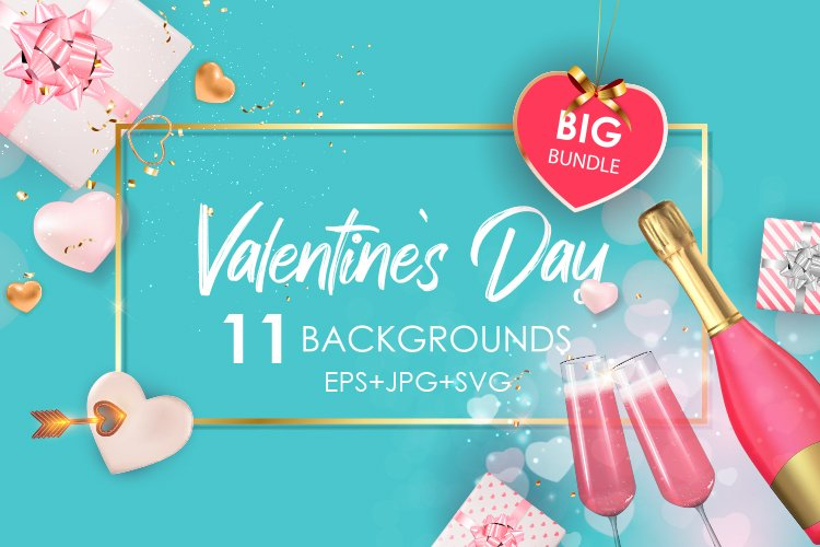 Big Valentines Day Background Template Card Set