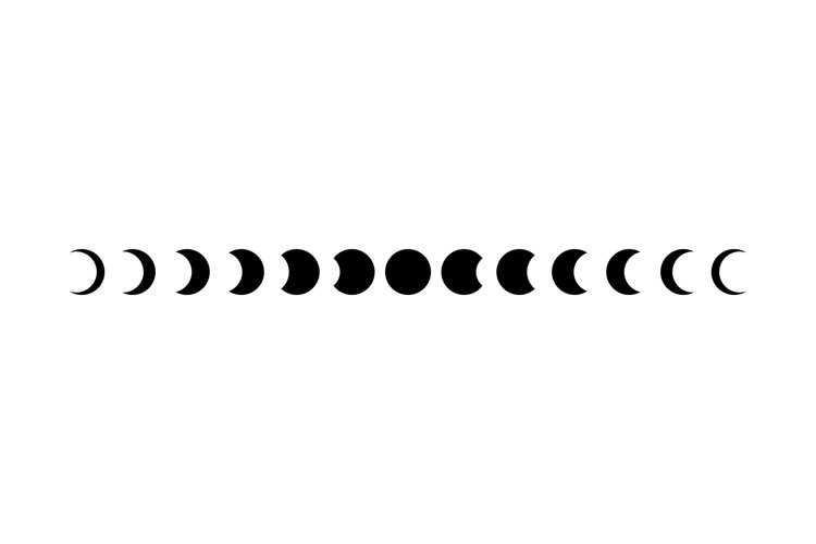 Moon phases icon set in black. Astronomy. Space. Eclipse. example image 1