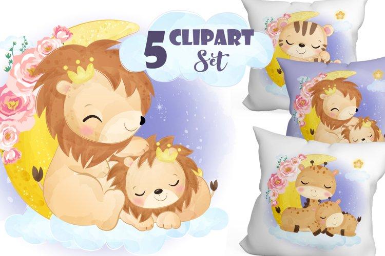 Cute Animals Mom   Baby Clipart Set
