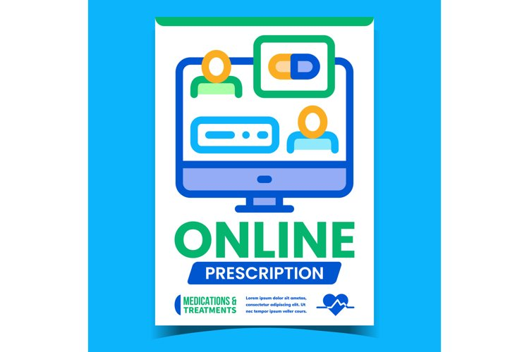 Online Prescription Advertising Poster Vector example image 1