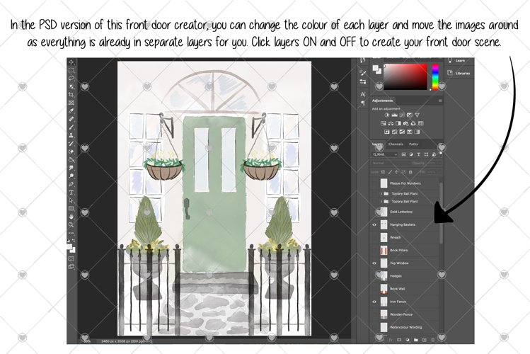 Watercolour Front Door Creator, House Clipart, Home, Door, example image 1