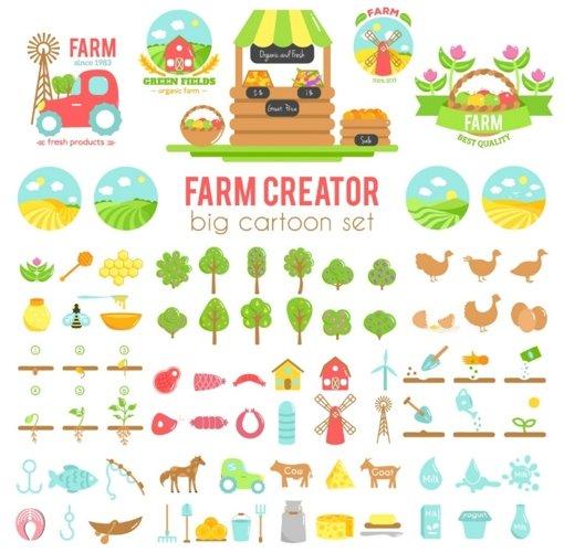 Farm creator. Big set of vector farming elements example image 1
