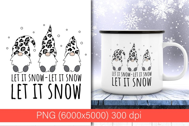 Three Christmas gnomes Leopard PNG |sublimation design example image 1