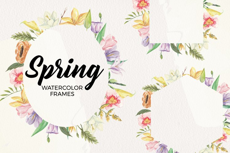 Spring Frames Floral Watercolors Pastel Cute Border Foliage example image 1