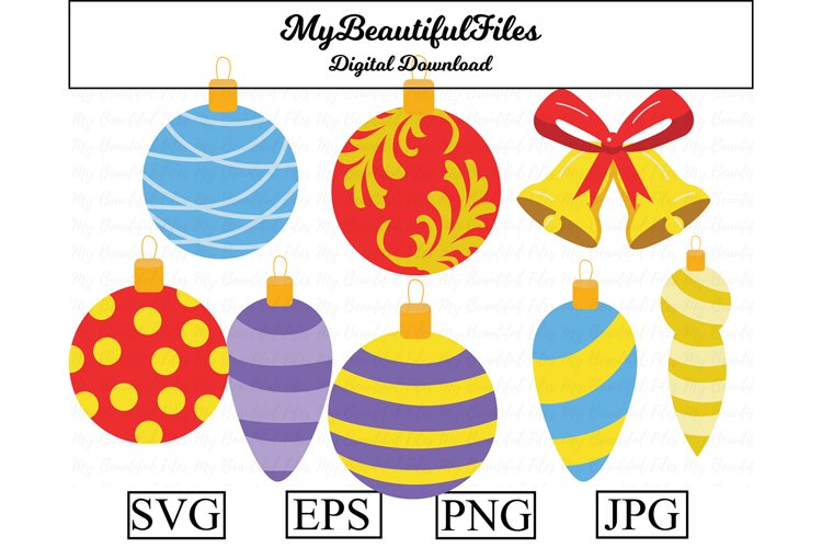 Christmas Ornaments SVG - Cute Ball SVG, EPS, PNG and JPG