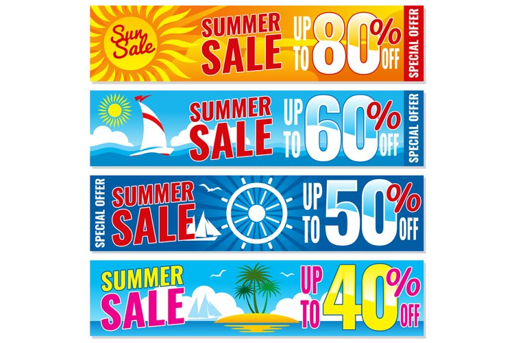 Summer shopping vector banners set. Hot price concept templa example image 1