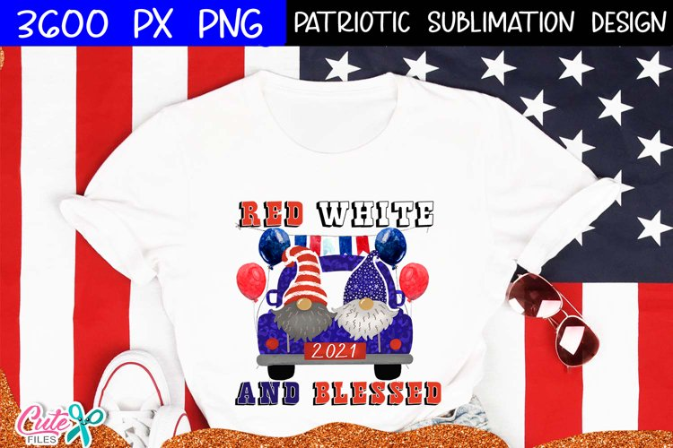 Red white and blessed|Patriotic sublimation design example image 1