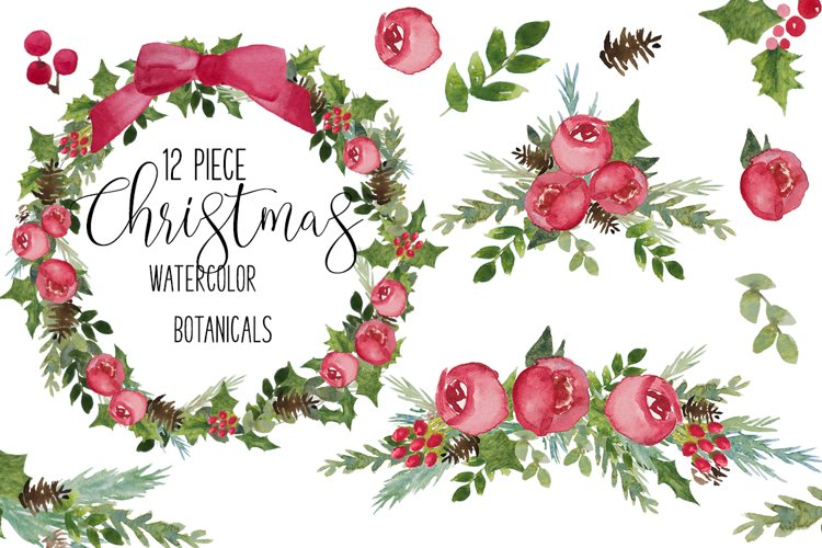 Red & Green Christmas flower Watercolor Clip Art