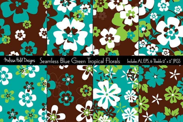 Seamless Blue Green Tropical Florals