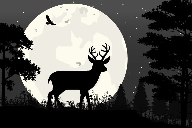 deer and moon silhouette, simple vector illustration design example image 1
