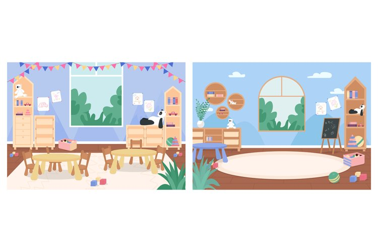 Primary school classroom with no people vector illustration example image 1