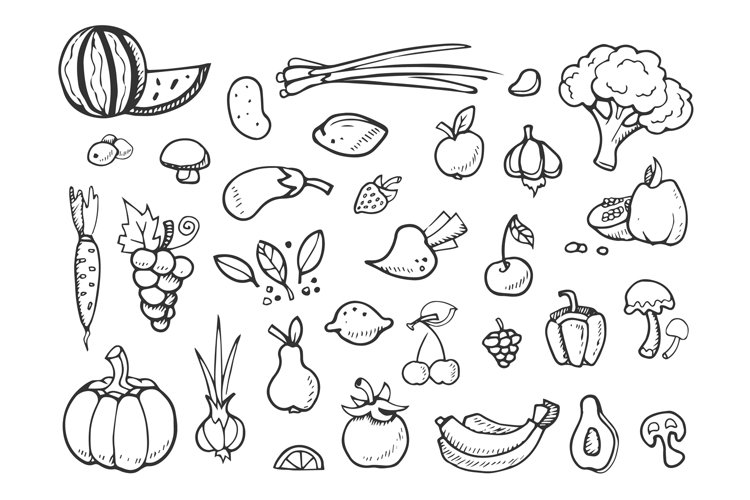 Fresh vegetables and fruit vector doodle icons. healthy eati