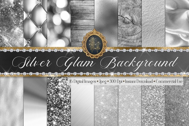 16 Luxury Silver Glam Glitter Foil Wood Sequin Digital Paper example image 1