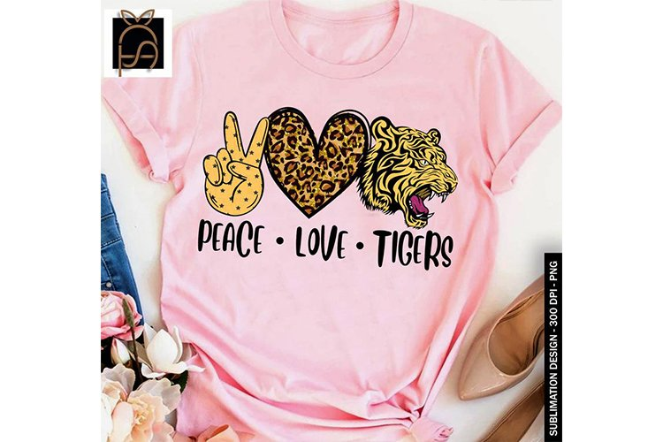 Peace Love Tigers - Leopard Heart PNG Sublimation example image 1