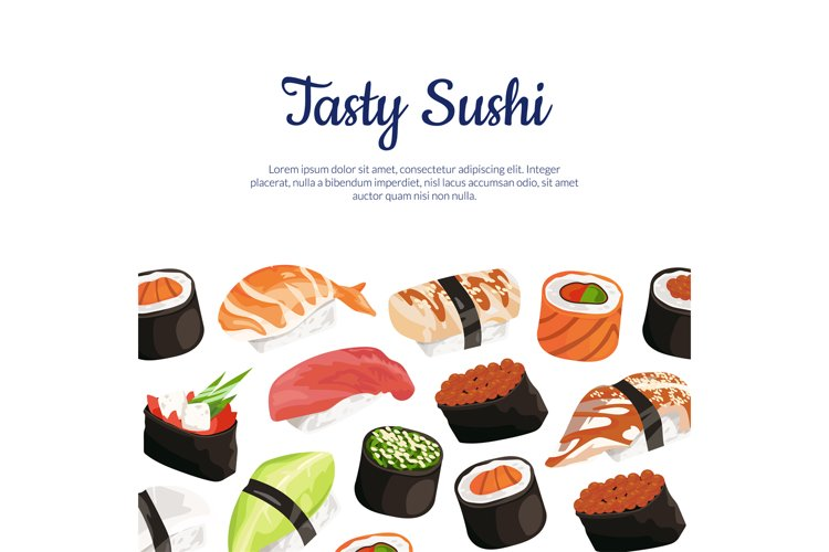 Vector cartoon sushi types background example image 1