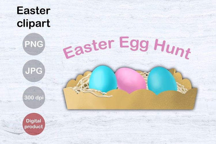 Easter Egg Hunt. Easter Tray. Clipart