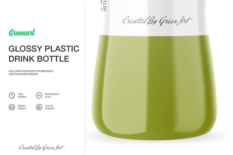 Glossy Plastic Bottle Mockup example 7