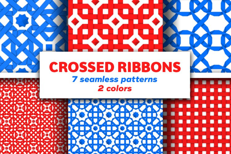 Crossed ribbons. Seamless patterns