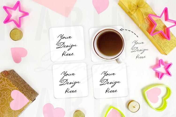 Valentines Coaster Mockup, Coffee Mug coaster mockup 1188