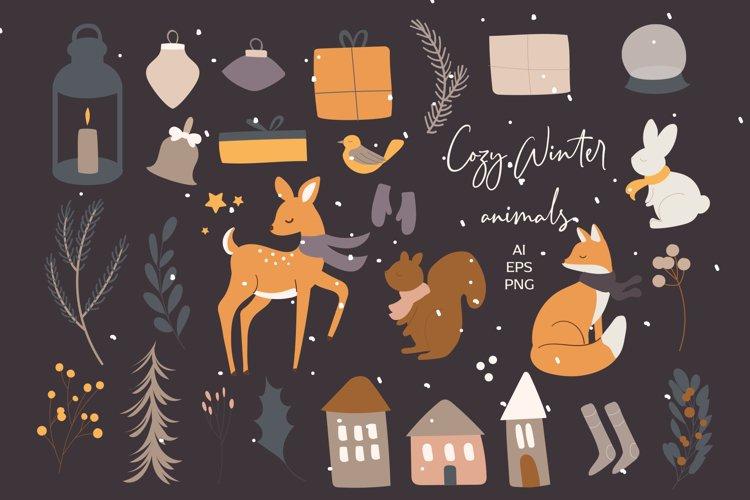 Winter Woodland Animals vector clip art