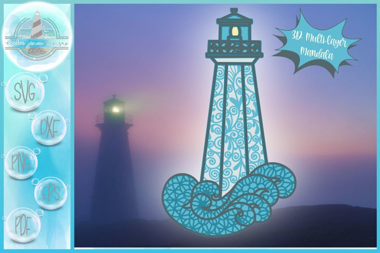 3D SVG Layered Design | 3D Lighthouse Mandala | 3D Mandala