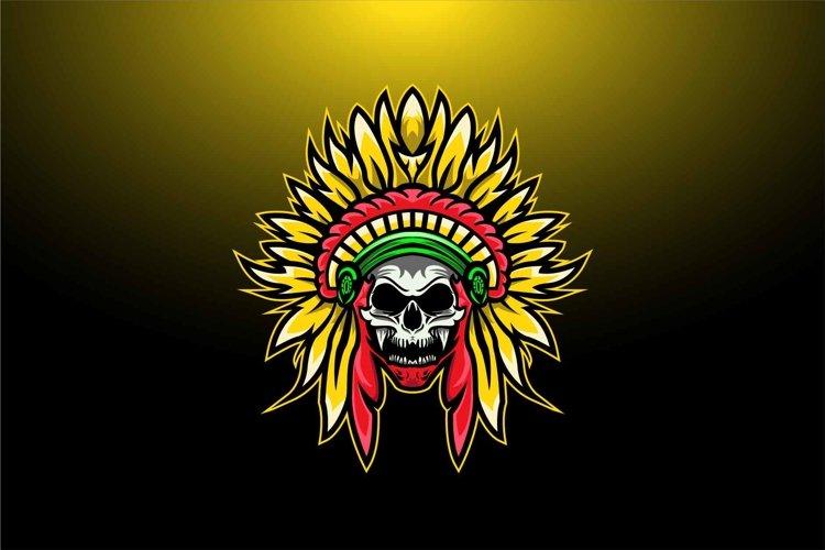 Indian skull logo design template example image 1