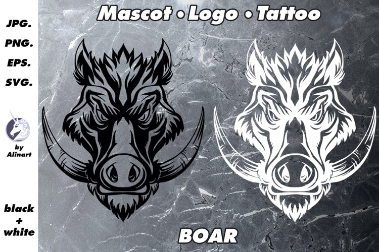 Mascot and Logo Wild boar Illustration example image 1
