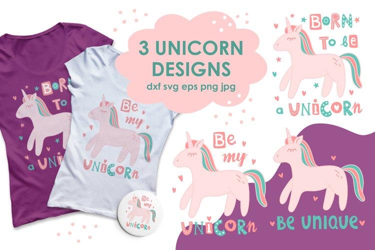 Cute Doodle Unicorn Design. Printable Sublimation SVG