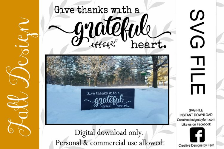 Give thanks with a grateful heart, SVG FILE example image 1