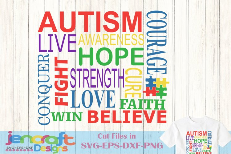 Autism Awareness Subway Word Art SVG Cut file example image 1