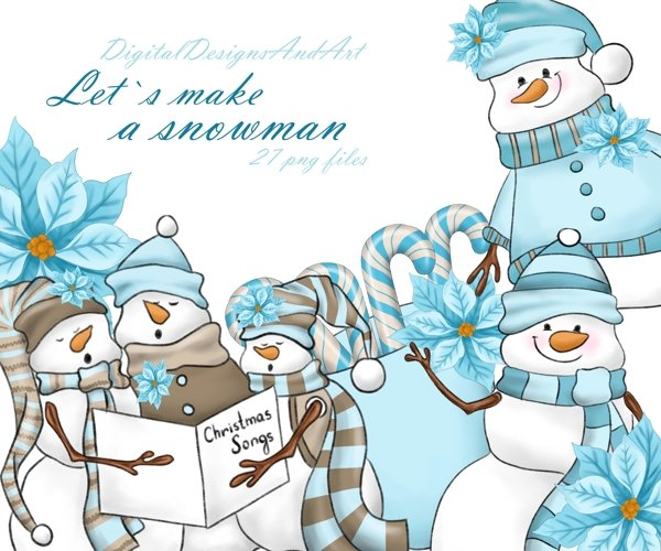 Blue snowman clipart example image 1