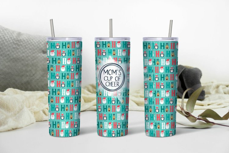Moms Cup of Cheer HoHoHo Christmas Sublimation Tumbler PNG