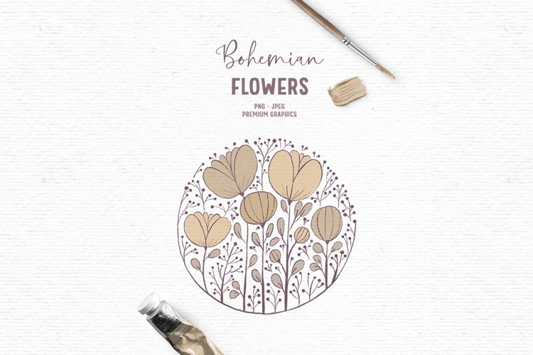 Hand-drawn boho clipart | Beige wildflower clipart example image 1