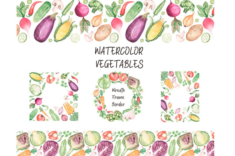 Watercolor Vegetables Frames example image 1