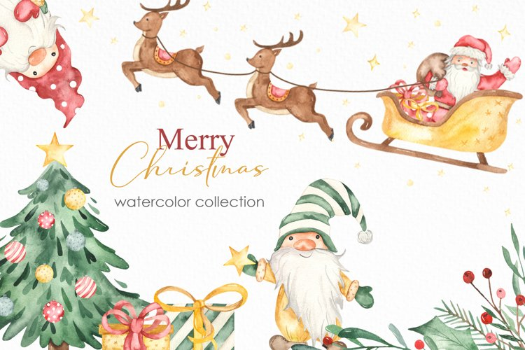 Merry Christmas watercolor collection example image 1