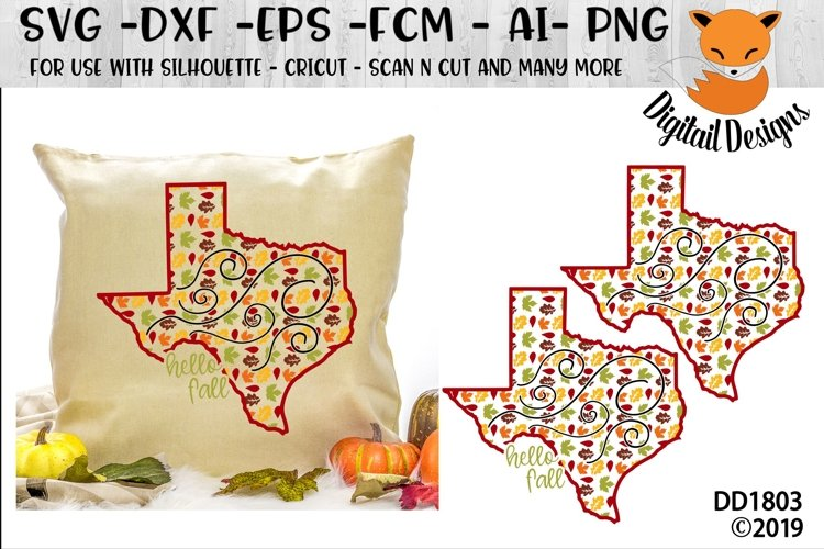 Texas Autumn Fall Leaves Pattern SVG example image 1